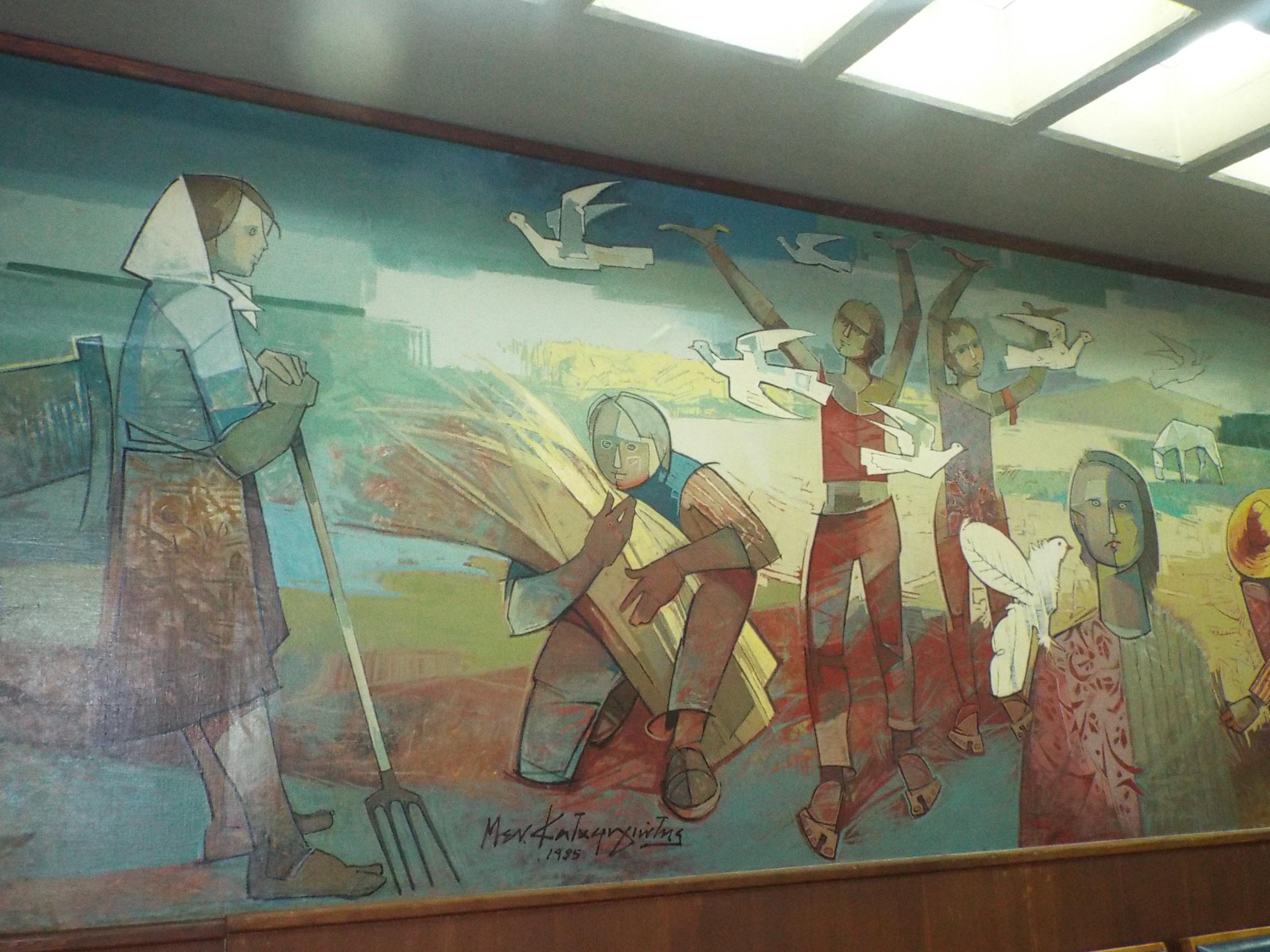 Θεσσαλικού Αγέρα Ξύπνημα, Μενέλαος Καταφυγιώτης, 1985 (λεπτομέρεια από έργο που κοσμεί την αίιθουσα συνεδριάσεων του Δημοτικού Συμβουλίου Τρικκαίων)